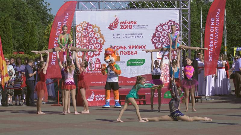 Performance of dance and groups during Opening Ceremony of Flame Of Peace dedicated to the 2nd European Games 2019 in stock photos