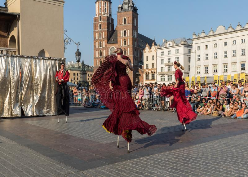 Performance of Dance Pageant performed byThe Kiev street Theatre Highlights at 31th Street - International Festival of Street Thea. Cracow, Poland - July 5, 2018 royalty free stock image