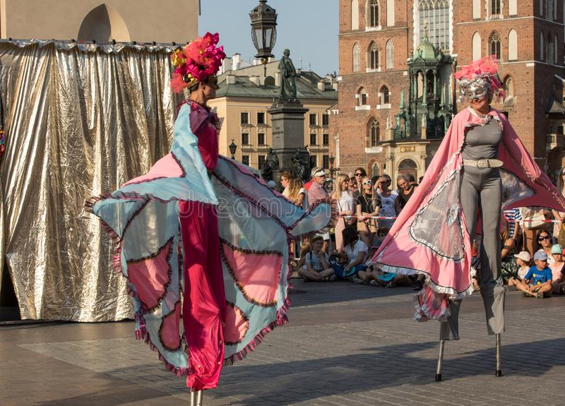Performance of Dance Pageant performed byThe Kiev street Theatre Highlights at 31th Street - International Festival of Street Thea. Cracow, Poland - July 5, 2018 royalty free stock photo