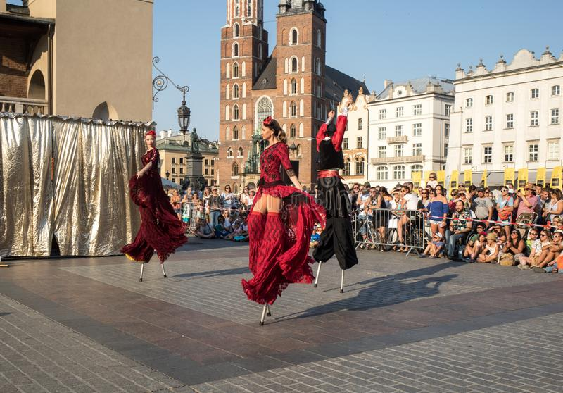 Performance of Dance Pageant performed byThe Kiev street Theatre Highlights at 31th Street - International Festival of Street Thea. Cracow, Poland - July 5, 2018 stock images