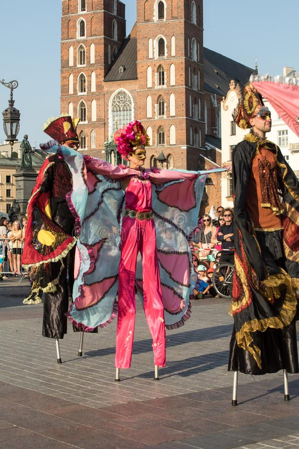 Performance of Dance Pageant performed byThe Kiev street Theatre Highlights at 31th Street - International Festival of Street Thea. Cracow, Poland - July 5, 2018 royalty free stock photos