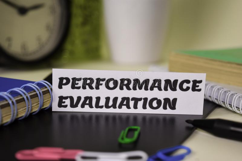 Performance Evaluation on the paper isolated on it desk. Business and inspiration concept royalty free stock image
