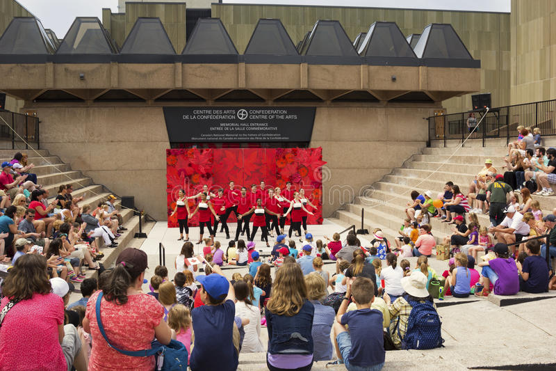 Performance in front of Confederation Centre of the Arts in Canada stock images