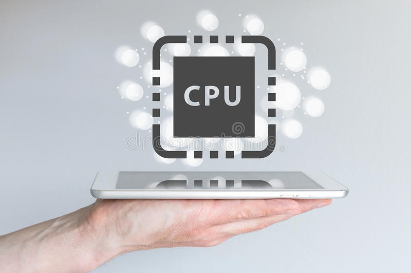 Performance increase of CPU power for mobile computing devices like smart phone. stock image