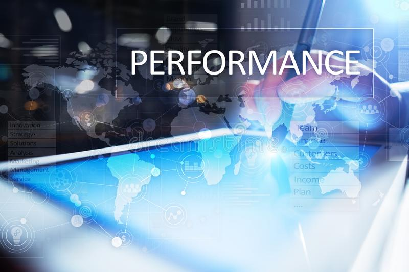 Performance indicator on virtual screen. KPI. Business growth strategy royalty free stock photos