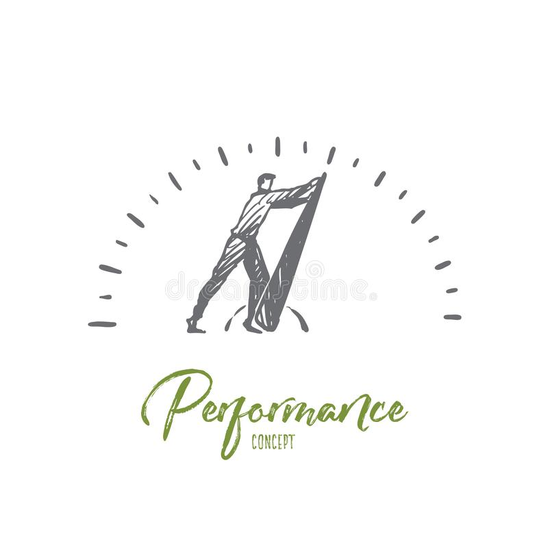 Performance, internet, speed, technology, fast concept. Hand drawn isolated vector. Performance, internet, speed, technology, fast concept. Hand drawn man near royalty free illustration