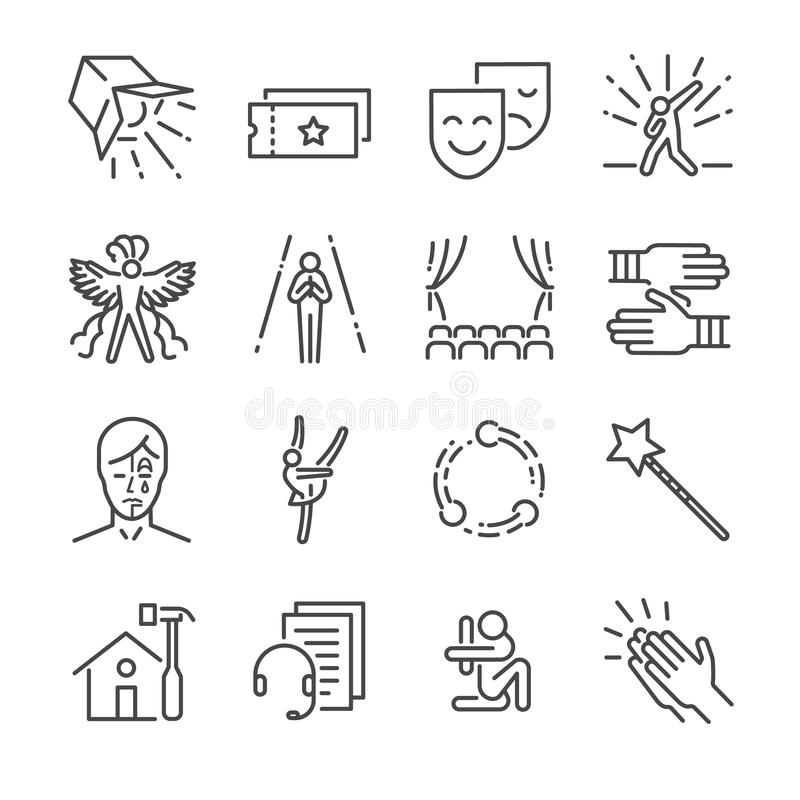 Performance line icon set. Included the icons as mask, mime, stage, concert and more. royalty free illustration