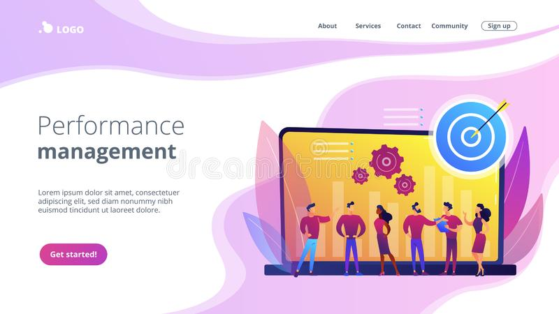 Performance Management Concept Landing Page  Stock Vector