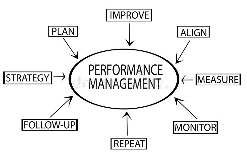 Performance management flow chart showing key business terms strategy, plan, monitor, vector illustration