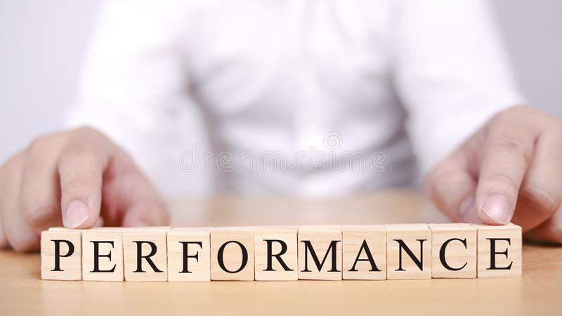 Performance, Motivational Words Quotes Concept stock images
