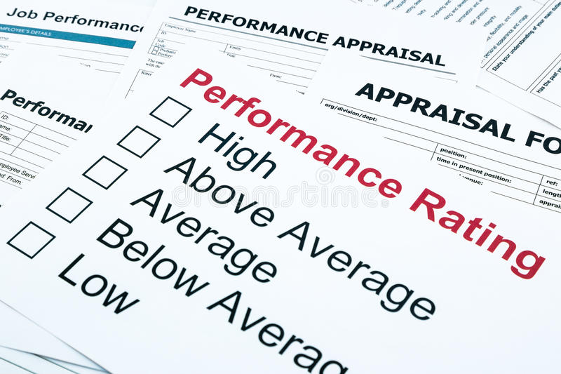 Performance rating and appraisal form royalty free stock photos