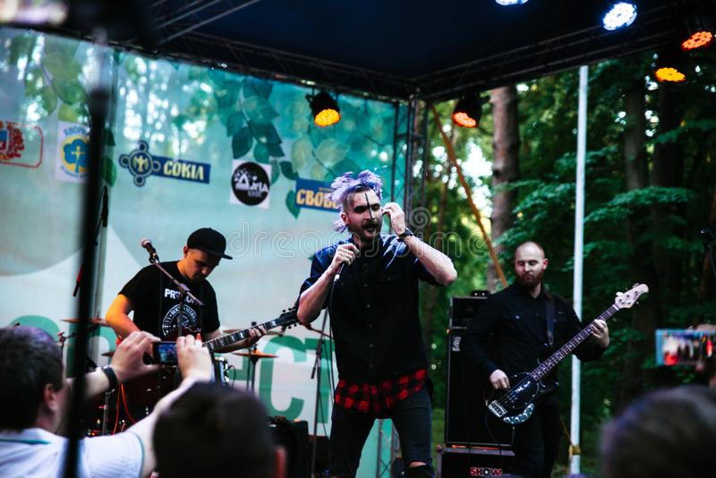 Performance of the rock group `Chumatsky Shlyakh` June 10, 2017 in Cherkassy, Ukraine. Performance of the rock group Chumatsky Shlyakh June 10, 2017 in Cherkassy stock photography