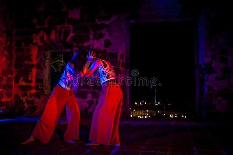 Performance in the ruin stock photo