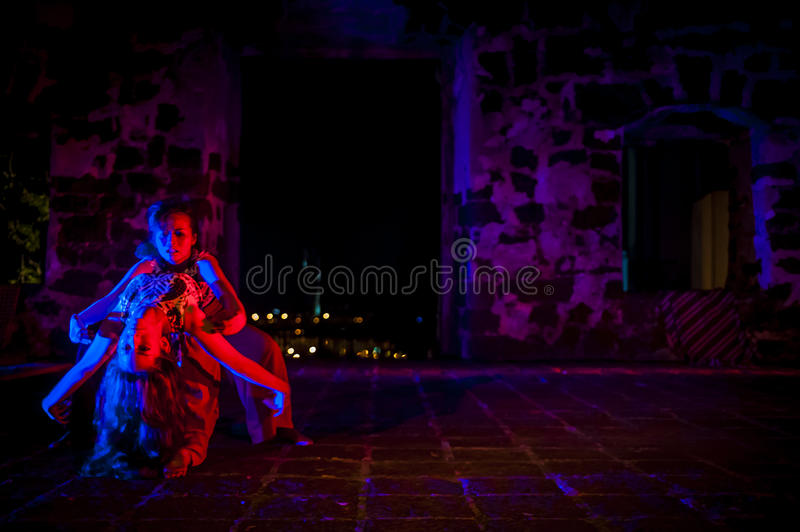 Performance in the ruin royalty free stock image