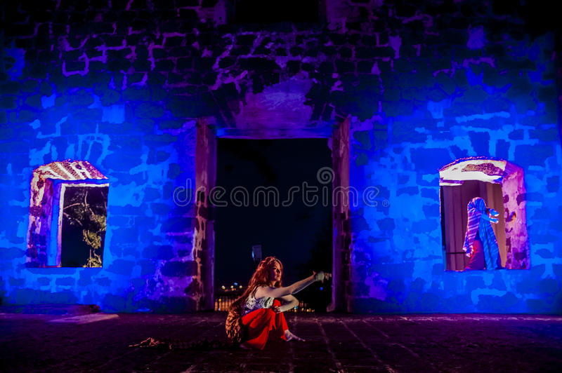 Performance in the ruin stock images
