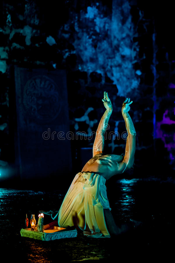 Performance in the ruin royalty free stock photo