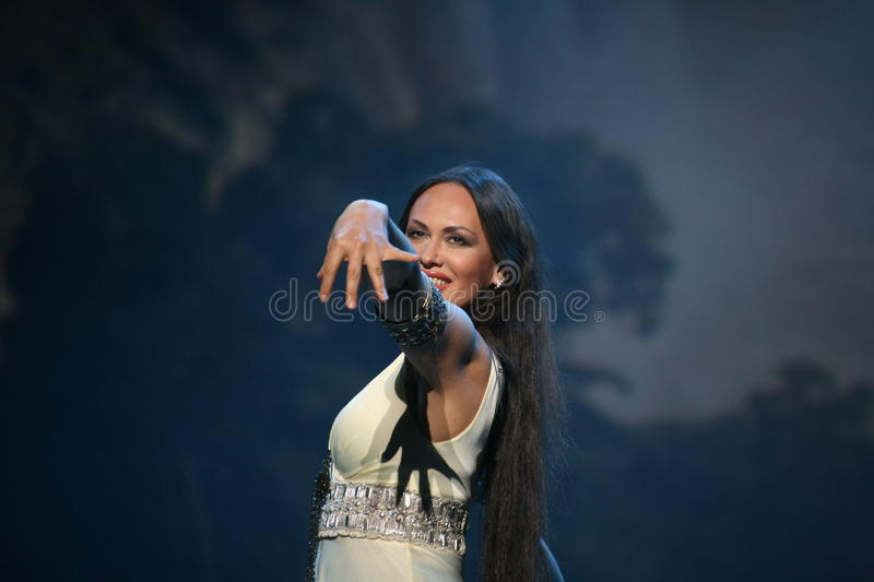 The performance on the stage actress and singer of russian classical crossover diva Larisa Lusta. A charity concert for the disabled and veterans of the second royalty free stock photo