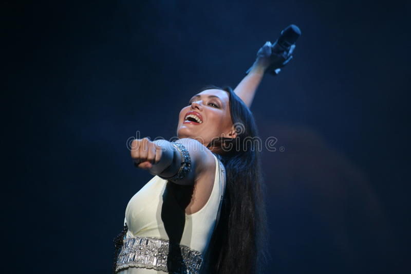 The performance on the stage actress and singer of russian classical crossover diva Larisa Lusta. A charity concert for the disabled and veterans of the second royalty free stock photos