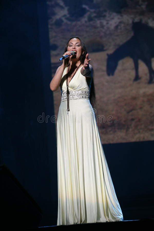 The performance on the stage actress and singer of russian classical crossover diva Larisa Lusta. A charity concert for the disabled and veterans of the second stock photo