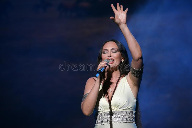 The performance on the stage actress and singer of russian classical crossover diva Larisa Lusta. A charity concert for the disabled and veterans of the second stock image