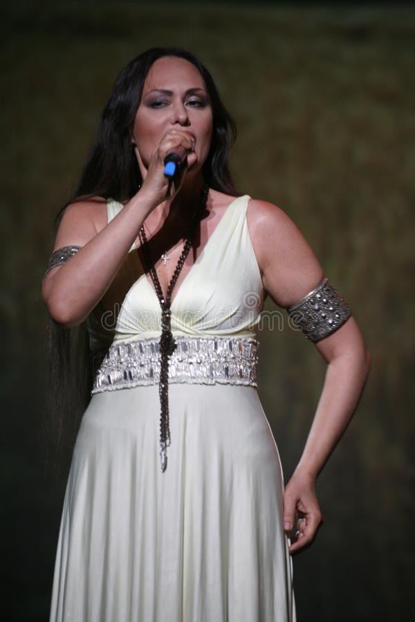 The performance on the stage actress and singer of russian classical crossover diva Larisa Lusta. A charity concert for the disabled and veterans of the second royalty free stock photography