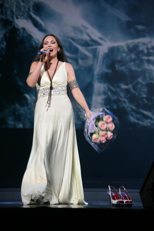 The performance on the stage actress and singer of russian classical crossover diva Larisa Lusta. A charity concert for the disabled and veterans of the second stock photography