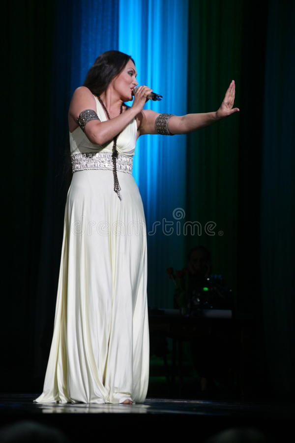 The performance on the stage actress and singer of russian classical crossover diva Larisa Lusta. A charity concert for the disabled and veterans of the second stock photos
