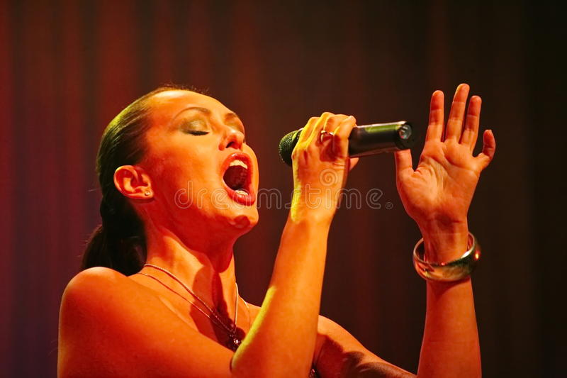 The performance on the stage actress and singer of russian classical crossover diva Larisa Lusta. The performance on the stage of Palace of culture and science royalty free stock image