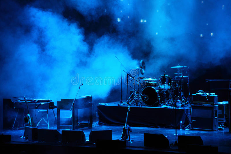 Performance stage awaiting for rock band royalty free stock photo