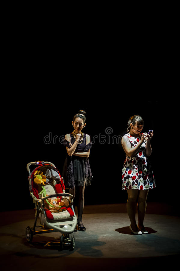 Performance on stage in dark studio royalty free stock photography