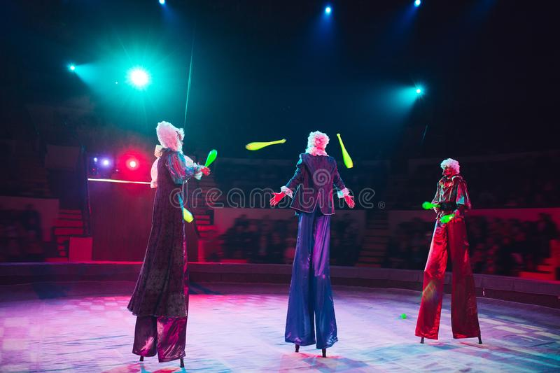 The performance of stilt-walkers in the circus.  royalty free stock photos