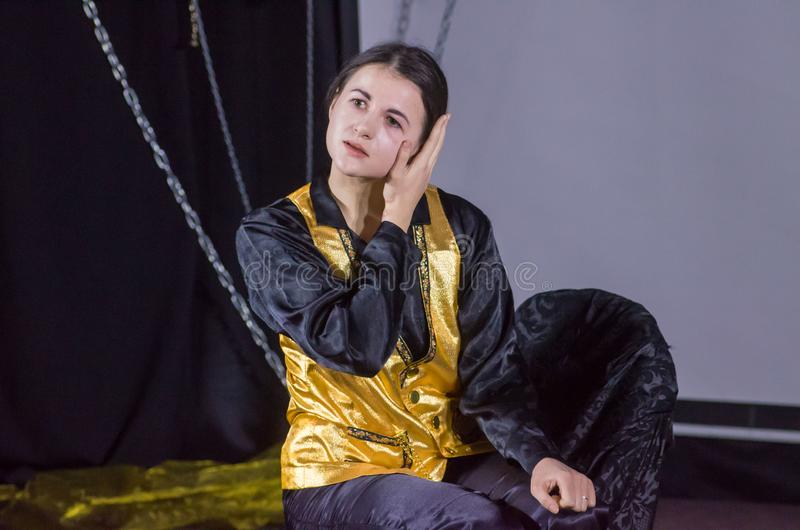 Performance Tales of Decadence. DNIPRO, UKRAINE - MARCH 31, 2019: Anna Vorobyov  perfomes Tales of Decadence at the Youth Theater Mirror royalty free stock image