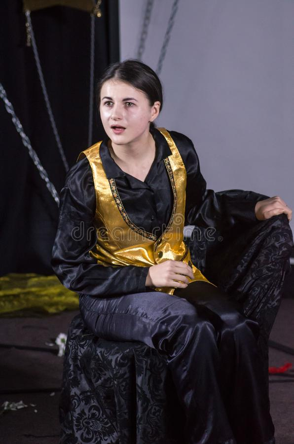 Performance Tales of Decadence. DNIPRO, UKRAINE - MARCH 31, 2019: Anna Vorobyov  perfomes Tales of Decadence at the Youth Theater Mirror stock images