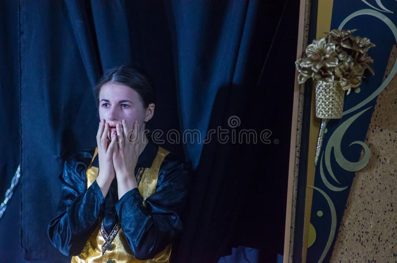 Performance Tales of Decadence. DNIPRO, UKRAINE - MARCH 31, 2019: Anna Vorobyov  perfomes Tales of Decadence at the Youth Theater Mirror royalty free stock photography
