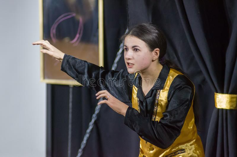 Performance Tales of Decadence. DNIPRO, UKRAINE - MARCH 31, 2019: Anna Vorobyov  perfomes Tales of Decadence at the Youth Theater Mirror stock photo