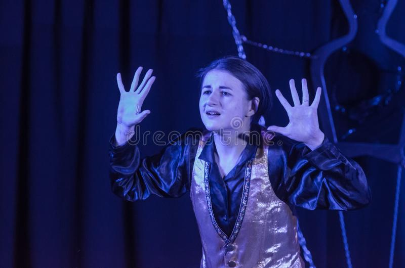 Performance Tales of Decadence. DNIPRO, UKRAINE - MARCH 31, 2019: Anna Vorobyov  perfomes Tales of Decadence at the Youth Theater Mirror royalty free stock photos