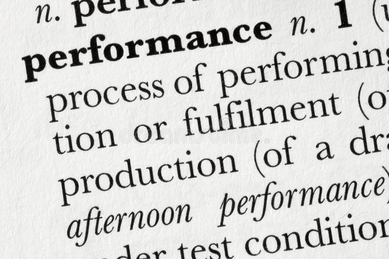 Performance word dictionary de royalty free stock photography