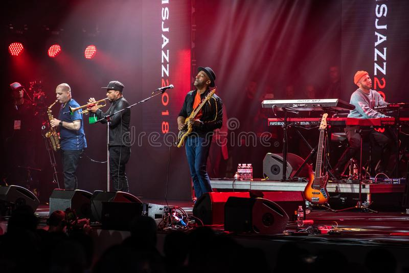 Speech by Marcus Miller with his band at the jazz festival in Lviv in 2018 Ukraine stock photography