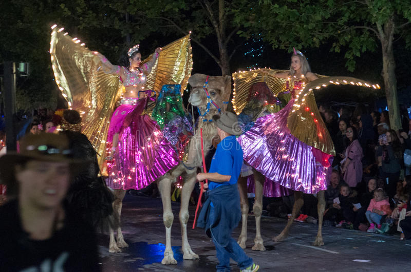 Performer and Camels - Adelaide Fringe 2017 royalty free stock image