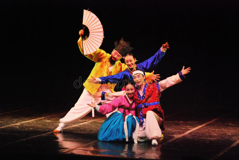 Performer of traditional Korean dance. Performance of Busan Korean traditional dance taken at Cak Durasim Surabaya Culture stage/theatre, Surabaya, East Java stock image