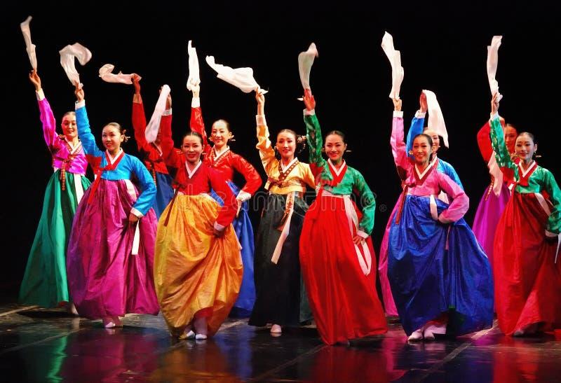 Performers of Busan Korean traditional dance. Performance of Busan Korean traditional dance taken at Cak Durasim Surabaya Culture stage/theatre, Surabaya, East royalty free stock photos