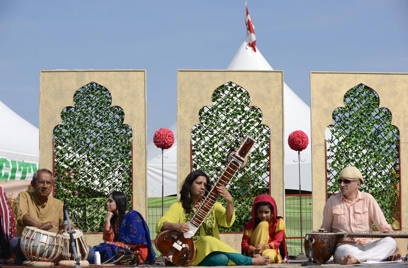 Edmonton, Canada-August 5, 2018: Performers at the Pakistan pavilion at Edmonton`s Heritage Days royalty free stock image