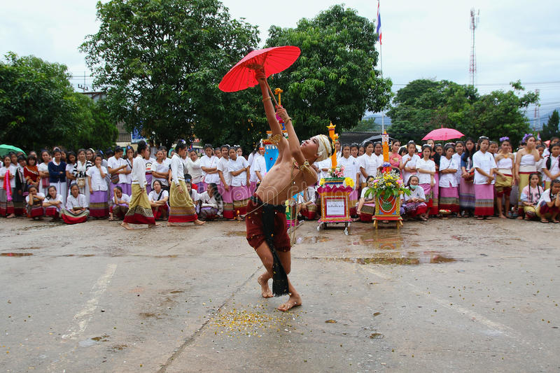 Performing arts dance. Chiang Mai, Thailand - July 29, 2015: Performing arts dance, The arts of the ancient Lanna or ancient people of northern Thailand stock photography