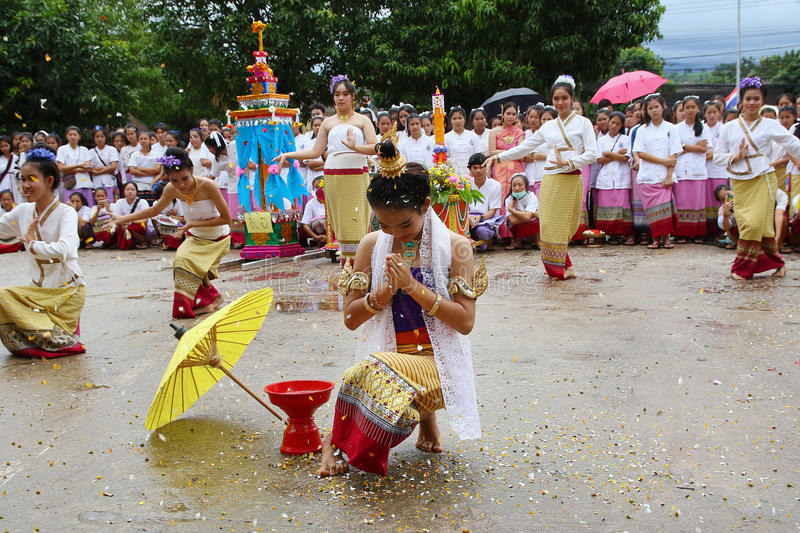 Performing arts dance. Chiang Mai, Thailand - July 29, 2015: Performing arts dance, The arts of the ancient Lanna or ancient people of northern Thailand royalty free stock photography