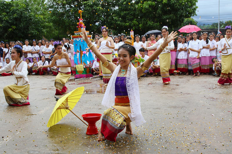 Performing arts dance. Chiang Mai, Thailand - July 29, 2015: Performing arts dance, The arts of the ancient Lanna or ancient people of northern Thailand stock photo