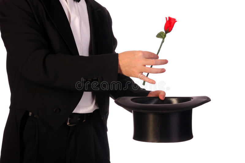 Performing with high hat and red rose stock photo