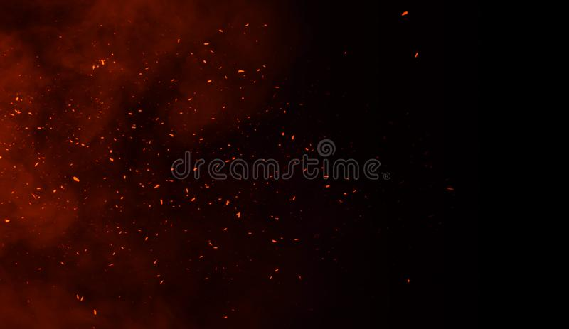 Perftect fire particles embers on background . Smoke fog misty texture. Overlays royalty free illustration
