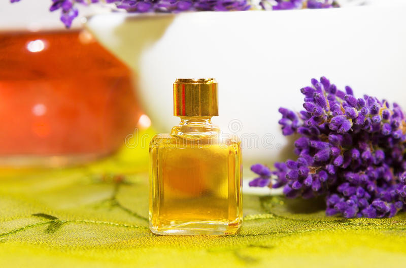Perfume with blossoms of Lavender stock photo