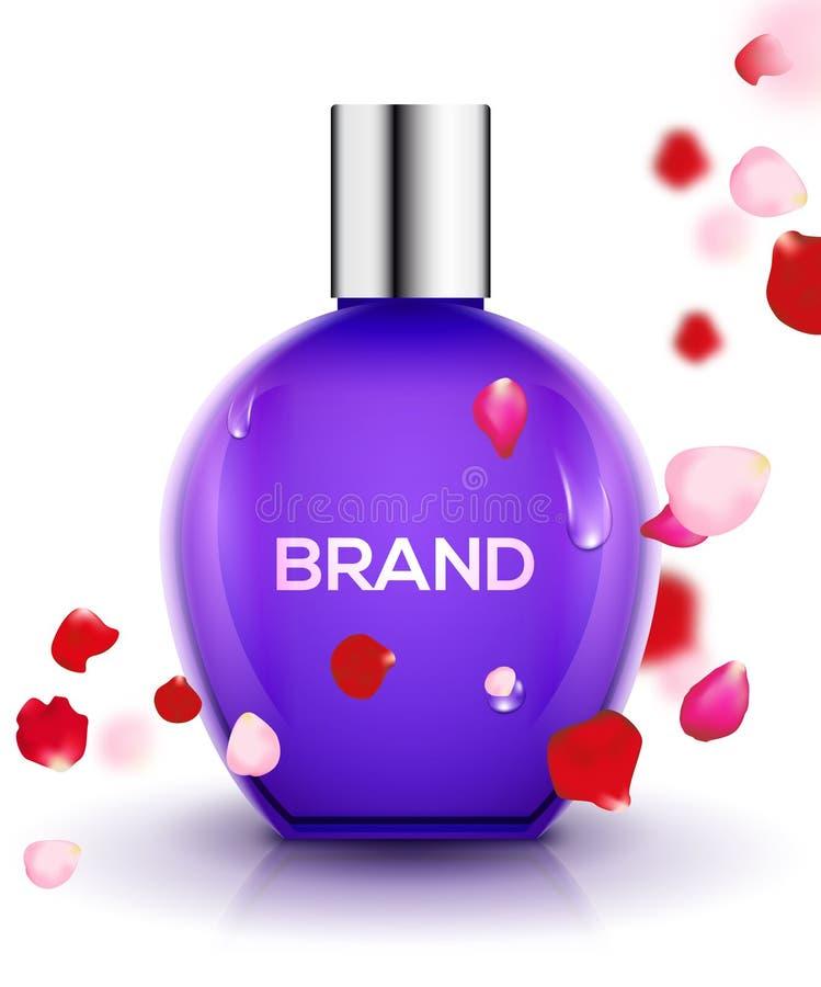 Perfume bottle background with rose petals. Fragrance pink cosmetic floral bottle design product mockup vector illustration