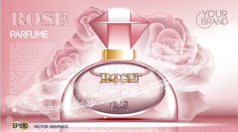Perfume bottle Cosmetic mock up. Perfume bottle Cosmetic ads template, droplet bottle mock up on dazzling roses background. Place for brand text. Glamorous vector illustration